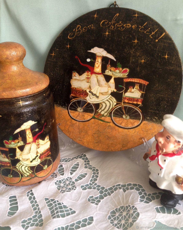 """Разделочная доска -панно из серии """"Повара на велосипедах"""", Доски, Пенза,  Фото №1"""