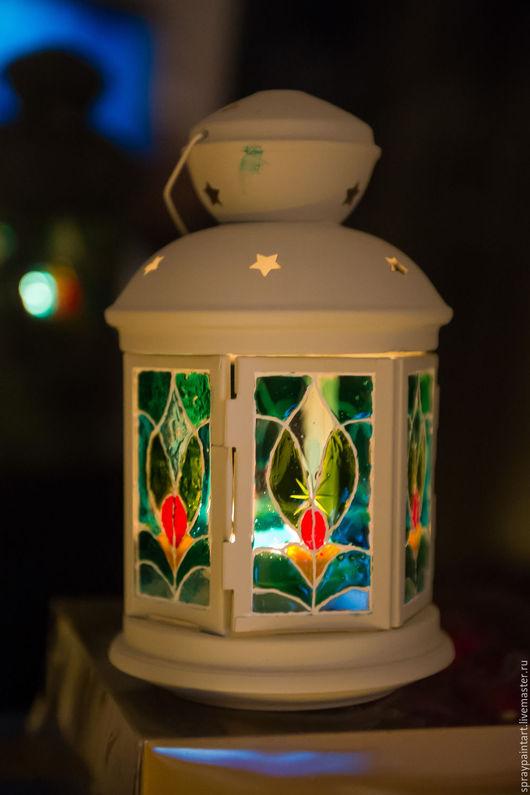 Подсвечники ручной работы. Ярмарка Мастеров - ручная работа. Купить Фонарь для греющей свечи - Узор. Handmade. Комбинированный, витражи, фонарь