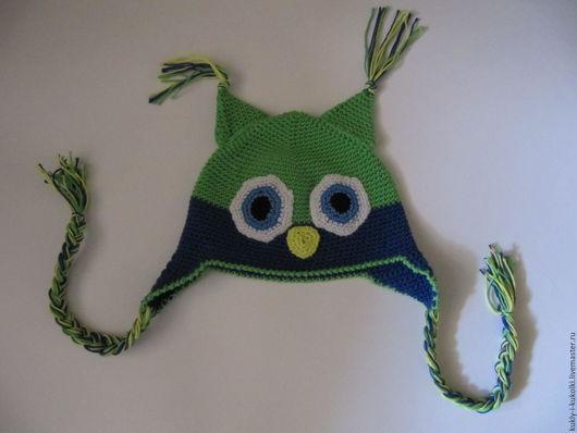 Шапки и шарфы ручной работы. Ярмарка Мастеров - ручная работа. Купить Шапка Совушка. Handmade. Зеленый, шапка вязаная