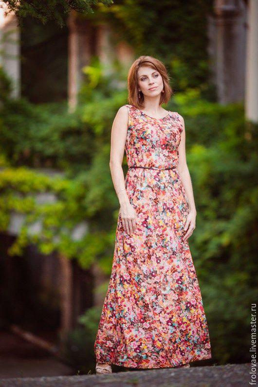 Платья ручной работы. Ярмарка Мастеров - ручная работа. Купить Платье. Handmade. Комбинированный, женственный образ, длинное платье, крепдешин