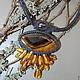 """Колье, бусы ручной работы. Ярмарка Мастеров - ручная работа. Купить колье-кулон """"Новолуние"""" симбирцит и натуральный янтарь. Handmade."""