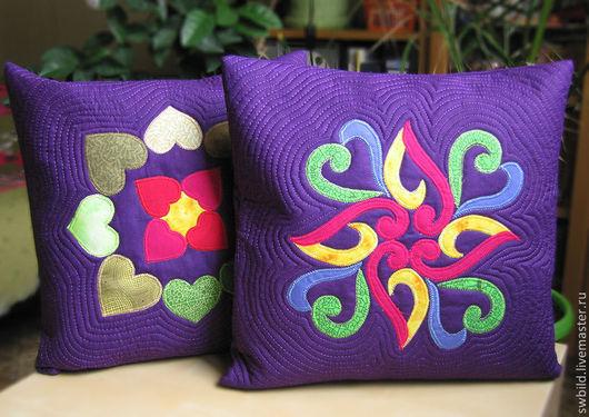 Текстиль, ковры ручной работы. Ярмарка Мастеров - ручная работа. Купить Сердечные подушки. Handmade. Тёмно-фиолетовый, узор, фиолетовый