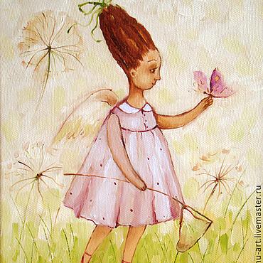 Картины и панно ручной работы. Ярмарка Мастеров - ручная работа Ангел и бабочка.Картина маслом. Handmade.