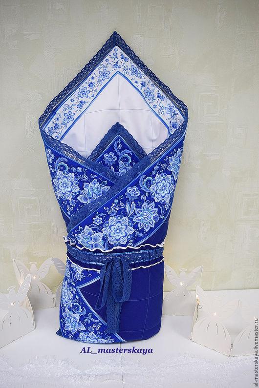 """Для новорожденных, ручной работы. Ярмарка Мастеров - ручная работа. Купить конверт на выписку """"гжель"""". Handmade. Синий, одеяло на выписку"""