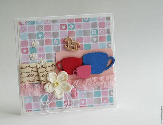 Детские открытки ручной работы. Ярмарка Мастеров - ручная работа. Купить Открытка на рождение ребенка -девочка. Handmade.