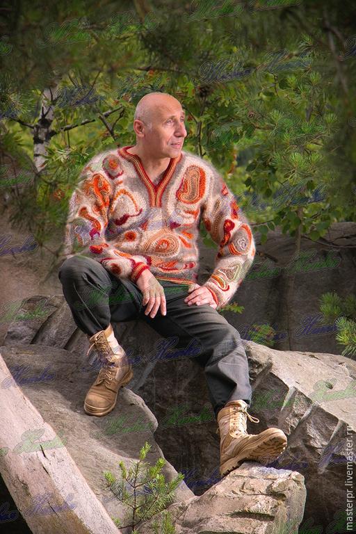 Пуловер  «Карибская Сказка» из собачьей шерсти. Техника вязания фриформ . Авторская ручная работа . Ручное прядение.Ручное вязание. 100% эксклюзивность