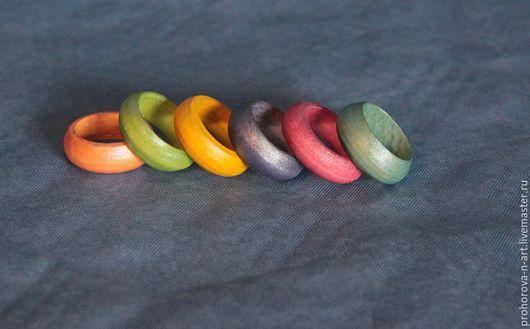 """Кольца ручной работы. Ярмарка Мастеров - ручная работа. Купить """"Акварельные нотки"""", деревянные колечки на палец. Handmade. Разноцветный"""