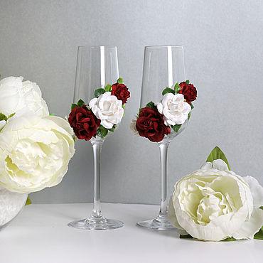 Свадебный салон ручной работы. Ярмарка Мастеров - ручная работа Бокалы свадебные Марсала с цветами. Handmade.