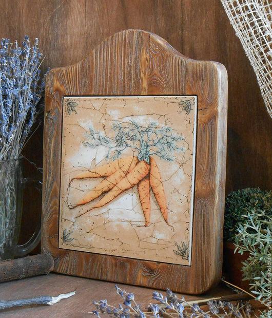 Декоративное панно для интерьера кухни. Массив сосны и керамическая плитка. `LedaksDecor`-для уютного дома!