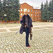Одежда ручной работы. Ярмарка Мастеров - ручная работа Пальто темно-синее с норкой. Handmade.
