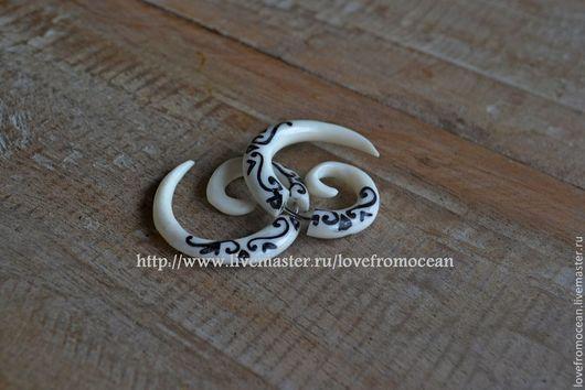 Серьги ручной работы. Ярмарка Мастеров - ручная работа. Купить Серьги обманки из кости в стиле этно трайбл. Handmade.