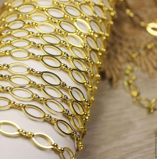 Для украшений ручной работы. Ярмарка Мастеров - ручная работа. Купить Цепь для украшений, цвет золото, раппорт 18х6 мм, 50 см. Handmade.