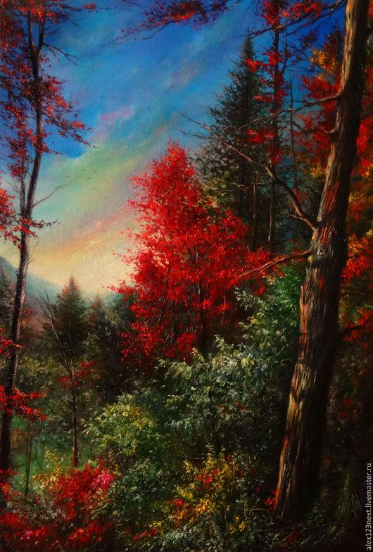 Пейзаж ручной работы. Ярмарка Мастеров - ручная работа. Купить Осенний вечер. Handmade. Ярко-красный, осень, вечер, масло