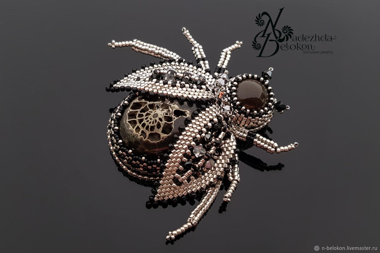 A beetle brooch made of precious beads, Brooches, Ulyanovsk,  Фото №1