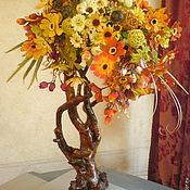 Композиции ручной работы. Ярмарка Мастеров - ручная работа Цветочная композиция на коряге. Handmade.