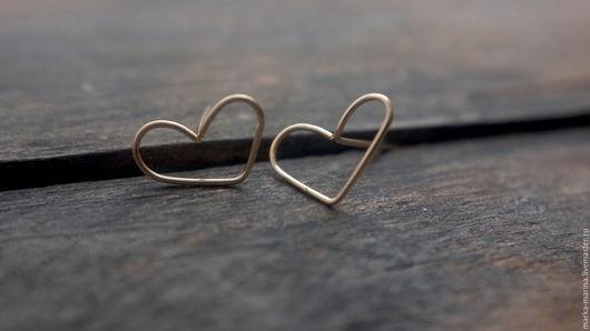 """Серьги ручной работы. Ярмарка Мастеров - ручная работа. Купить Пусеты из 14 каратного золота """"Про Любовь""""1. Handmade. Серьги"""