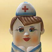 handmade. Livemaster - original item Nurse flask porcelain. Hippocratic Oath. Handmade.