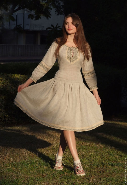 Платья ручной работы. Ярмарка Мастеров - ручная работа. Купить Платье Медовое. Handmade. Серый, льняное платье, платье русское