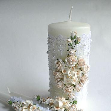 Свадебный салон ручной работы. Ярмарка Мастеров - ручная работа Свечи семейный очаг белые розы с золотом. Handmade.