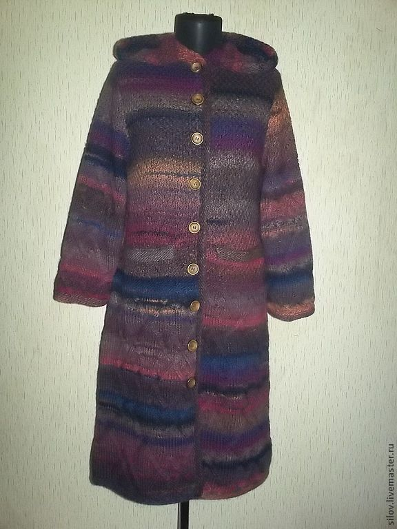 Knitted coat with hood in the Empire style, stylish knitted coat, Outer Clothing handmade, Moscow, Фото №1