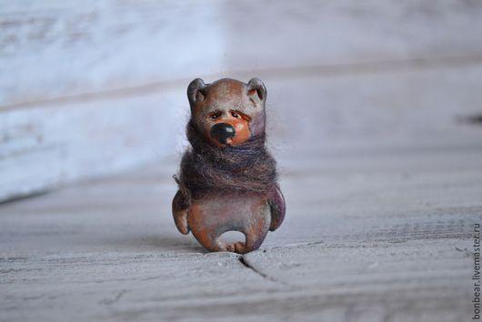 Броши ручной работы. Ярмарка Мастеров - ручная работа. Купить гризлик... (брошь). Handmade. Брошь, мишка, рыжий, миниатюра