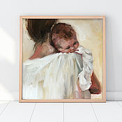 Картины и панно handmade. Livemaster - original item Mother with baby in her arms, oil painting on canvas, 20h20cm.. Handmade.