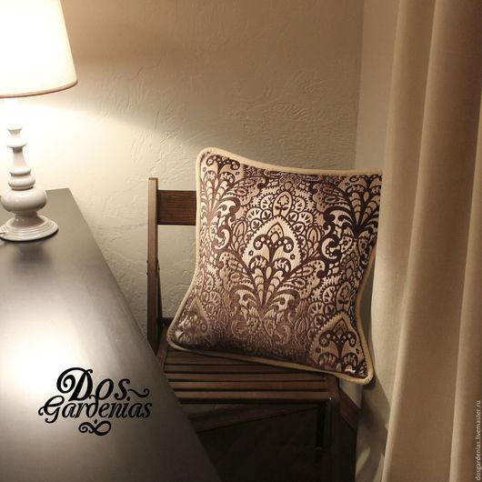 Текстиль, ковры ручной работы. Ярмарка Мастеров - ручная работа. Купить 2 подушки Ornamento. Handmade. Коричневый, фактура, полиэстер