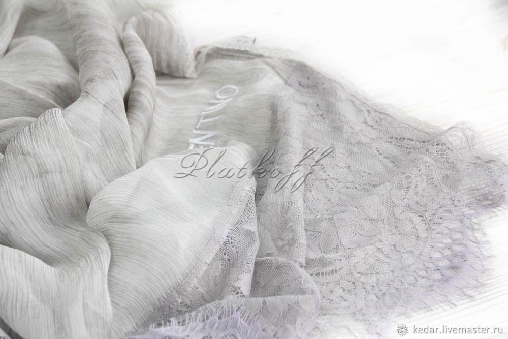 Silk scarf 'luxury' Valentino fabric silver grey, Wraps, Moscow,  Фото №1
