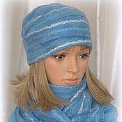 Caps handmade. Livemaster - original item Felted scarf felted Hat ...series. Handmade.