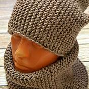Аксессуары ручной работы. Ярмарка Мастеров - ручная работа Комплект (шапка-бини +снуд). Handmade.