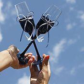 Свадебный салон ручной работы. Ярмарка Мастеров - ручная работа Свадебные бокалы  насыщенно синего цвета. Handmade.