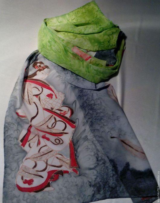 Шарфы и шарфики ручной работы. Ярмарка Мастеров - ручная работа. Купить Весна востока. Handmade. Серый, японка, монохром