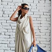 Одежда ручной работы. Ярмарка Мастеров - ручная работа Бежевое свободное платье. Handmade.
