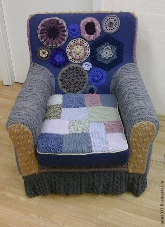 Текстиль, ковры ручной работы. Ярмарка Мастеров - ручная работа. Купить Чехол для кресла вязаный. Handmade. Кресло, медальон
