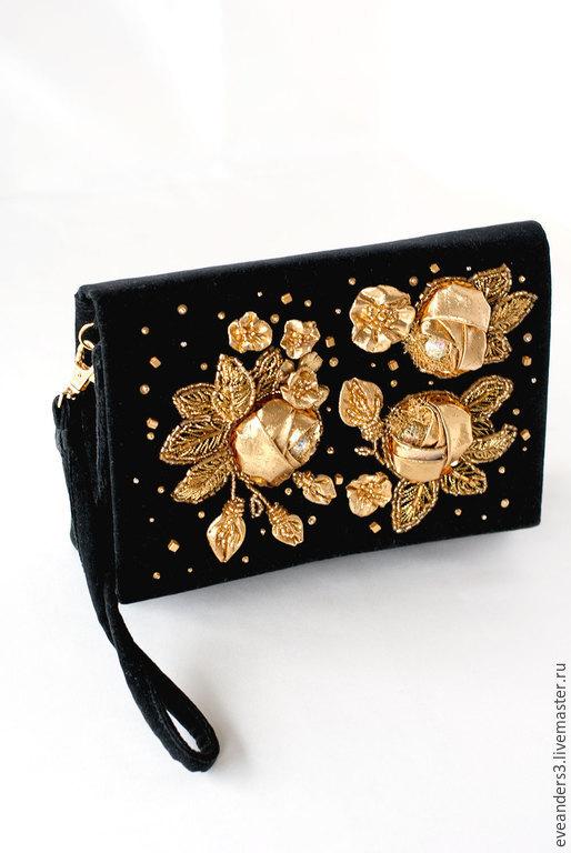 Женские сумки ручной работы. Ярмарка Мастеров - ручная работа. Купить SALE Клатч бархатный вышивка золотые розы. Handmade.
