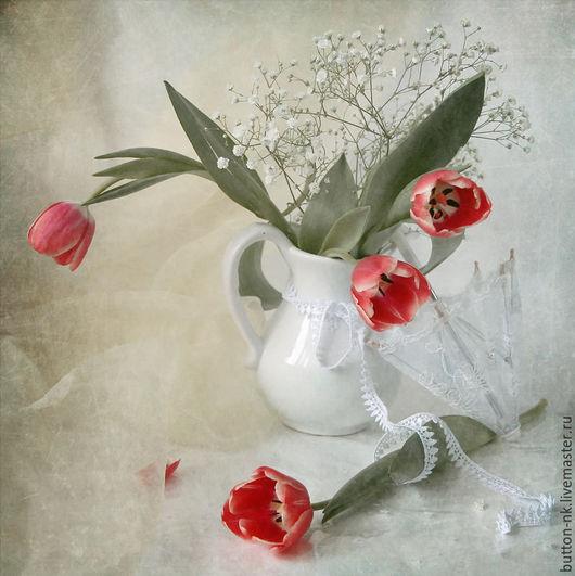 Фотокартины ручной работы. Ярмарка Мастеров - ручная работа. Купить Натюрморт Февральские тюльпаны. Handmade. Ярко-красный, цветы, зонтик