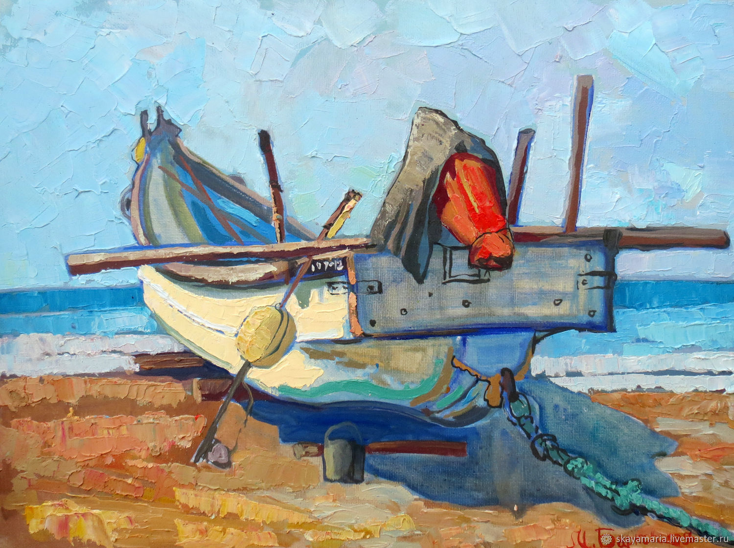 Oil painting.Boat. Shore of Arambol 30h40, Pictures, Moscow,  Фото №1