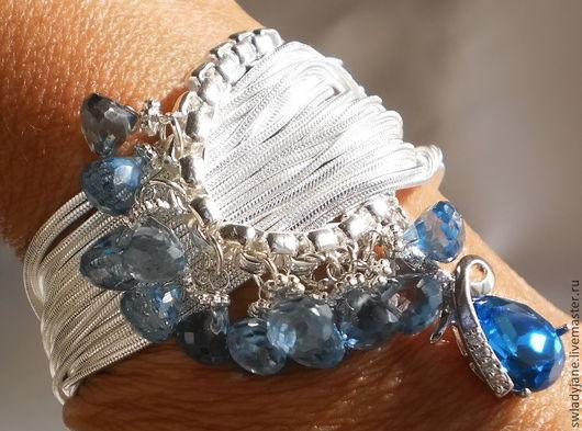 Браслеты ручной работы. Ярмарка Мастеров - ручная работа. Купить Серебряный браслет Голубое озеро (Серьги) с голубыми топазами. Handmade.