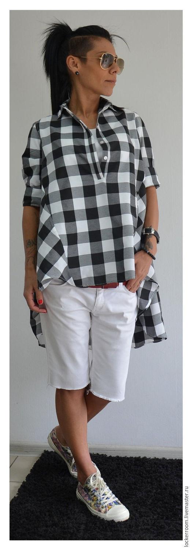 Блузки ручной работы. Ярмарка Мастеров - ручная работа. Купить Рубашка Loose. Handmade. Чёрно-белый, женская одежда