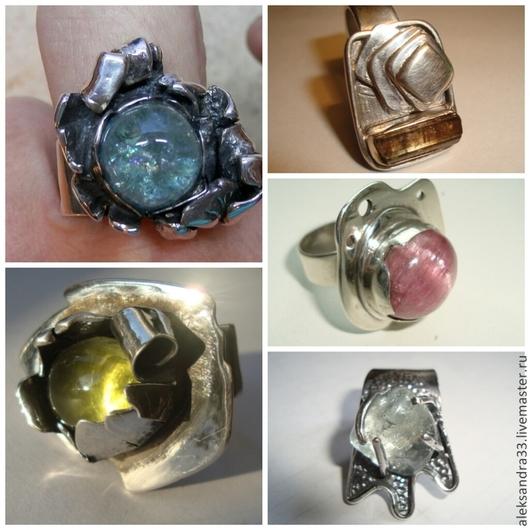 """Кольца ручной работы. Ярмарка Мастеров - ручная работа. Купить авторские  кольца """"Цветы и минералы"""". Handmade. Серебряное кольцо, турмалин"""