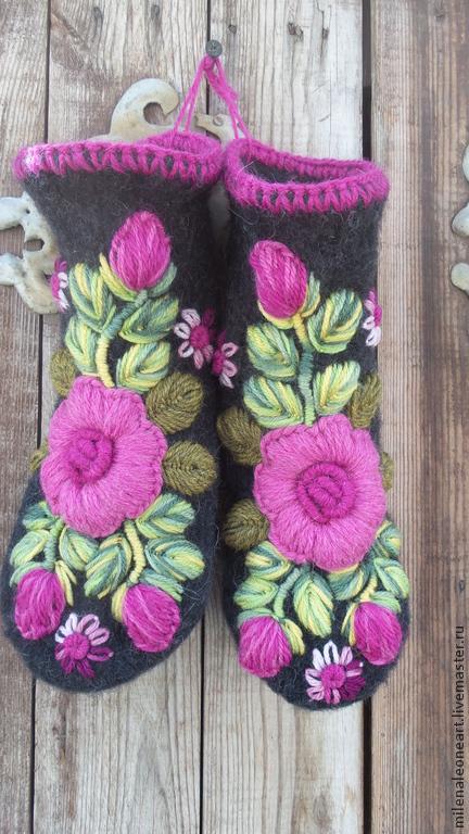 Варежки, митенки, перчатки ручной работы. Ярмарка Мастеров - ручная работа. Купить Варежки с вышивкой Чайная роза  Bella. Handmade.