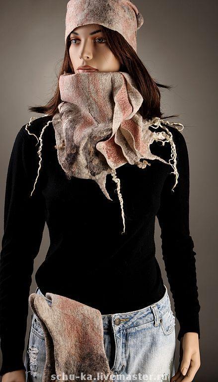 шапка валяная и шарф валяный шарф-труба, снуд