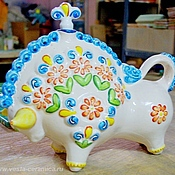 Посуда handmade. Livemaster - original item Ceramic bottle Bull. Handmade.