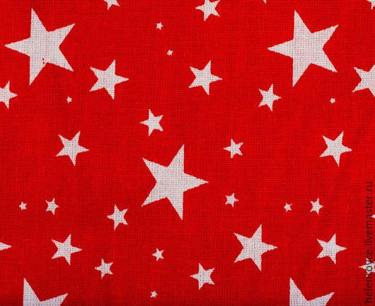 Шитье ручной работы. Ярмарка Мастеров - ручная работа. Купить Ткань Хлопок Звездочки на красном бязь. Handmade. Бязь