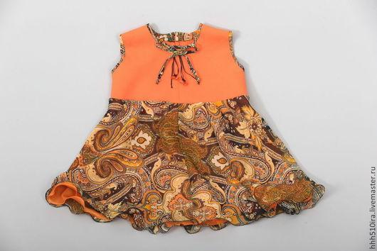 """Одежда для девочек, ручной работы. Ярмарка Мастеров - ручная работа. Купить Платье  """"Оранж"""". Handmade. Оранжевый, девочка"""