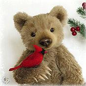 Куклы и игрушки handmade. Livemaster - original item Chermozsky bear with a red cardinal.. Handmade.