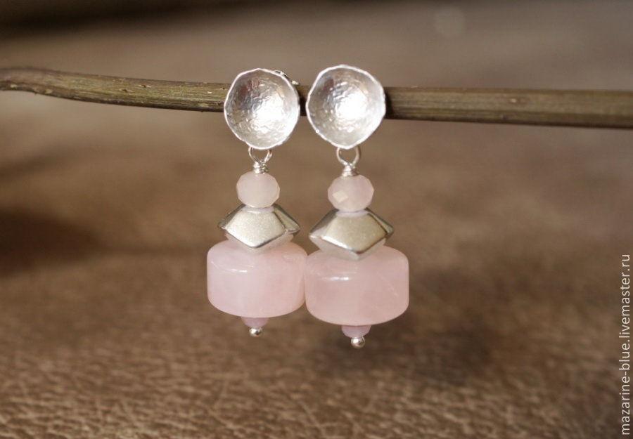 'Tumi Ishi. Pink' earrings quartz, Earrings, Krasnodar,  Фото №1