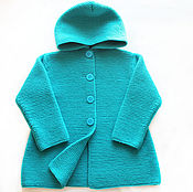 Работы для детей, handmade. Livemaster - original item Coat for 1.5 years Turquoise hooded. Sold.. Handmade.
