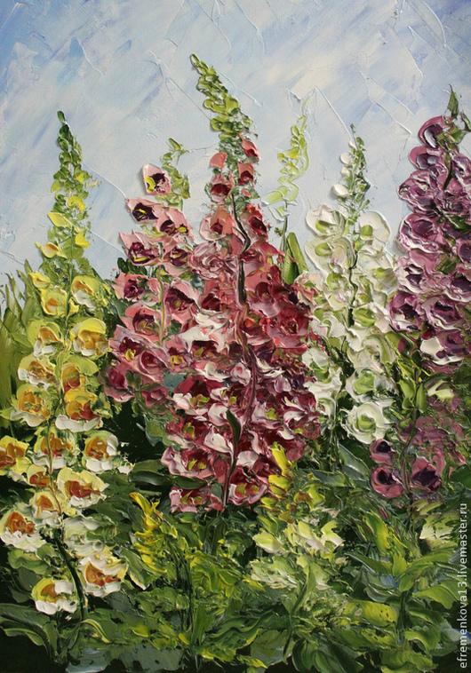 """Картины цветов ручной работы. Ярмарка Мастеров - ручная работа. Купить Картина """"Наперстянка"""". Handmade. Синий, цветы, сад, наперстянка"""