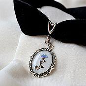 Украшения handmade. Livemaster - original item Velvet on the neck.Forget-me-not earrings. Jewelry set. Handmade.